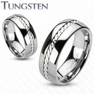 Wolfrámový prsteň s pleteným vzorom striebornej farby, 6 mm - Veľkosť: 49 mm
