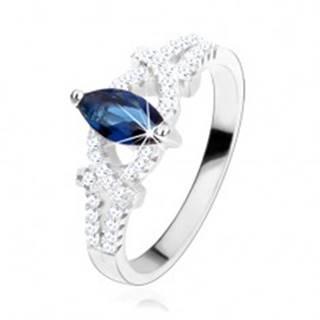 Zásnubný prsteň, striebro 925, zrnko z tmavomodrého zirkónu, trblietavé oblúky - Veľkosť: 49 mm