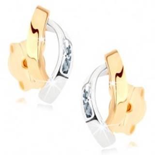 Zlaté náušnice 375 - dva lesklé oblúčiky v zlatej a striebornej farbe, zirkóniky