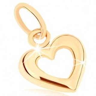 Zlatý prívesok 375 - širšia zaoblená kontúra súmerného srdca, vysoký lesk