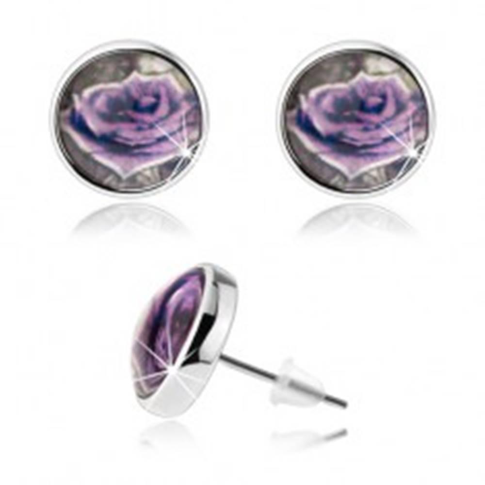 Šperky eshop Cabochon náušnice, číra vypuklá glazúra, fialová ruža s bielym okrajom