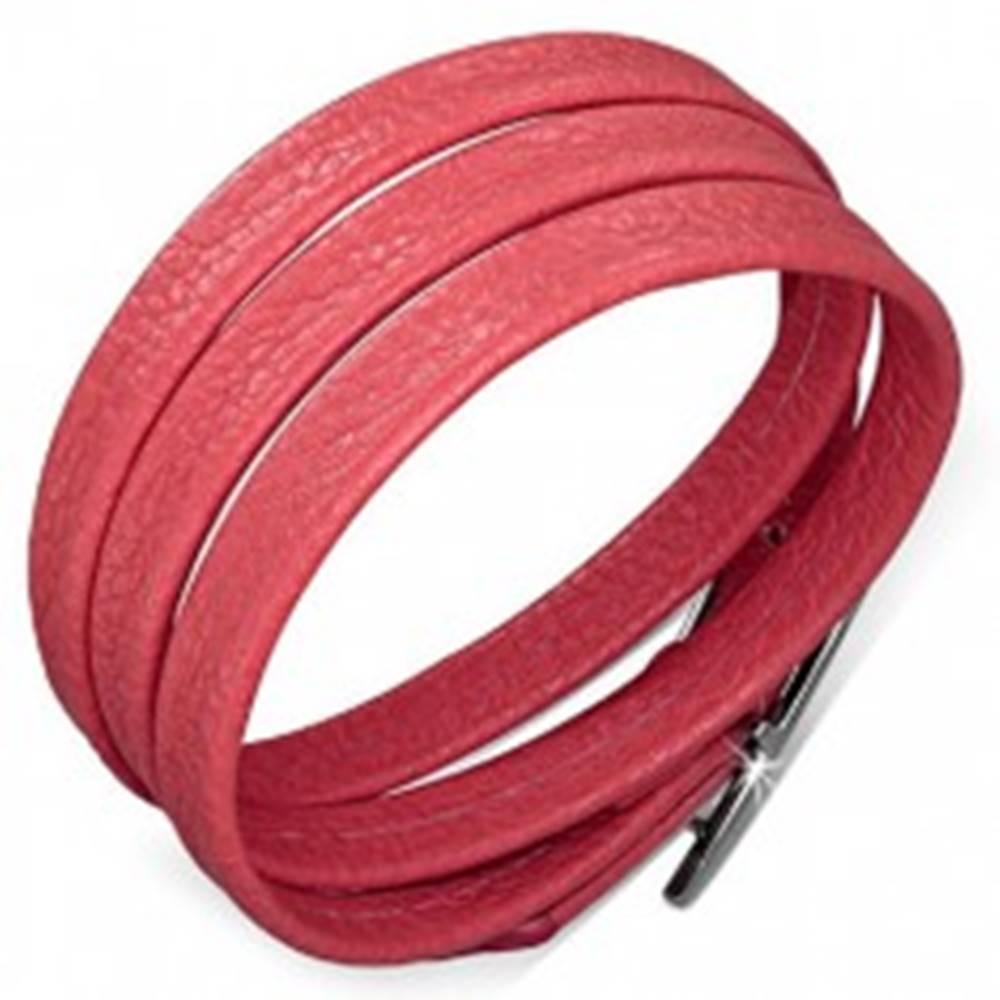 Šperky eshop Červený náramok z umelej kože, lesklá pracka v striebornej farbe