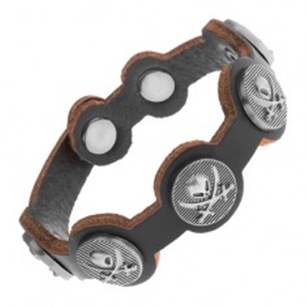 Šperky eshop Čierny náramok zo syntetickej kože, oceľové kruhy s lebkou a mečmi