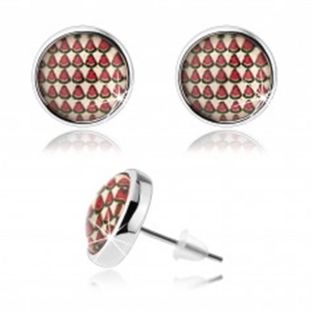 Šperky eshop Kabošon náušnice, číra vypuklá glazúra, motív malých pokrájaných melónov