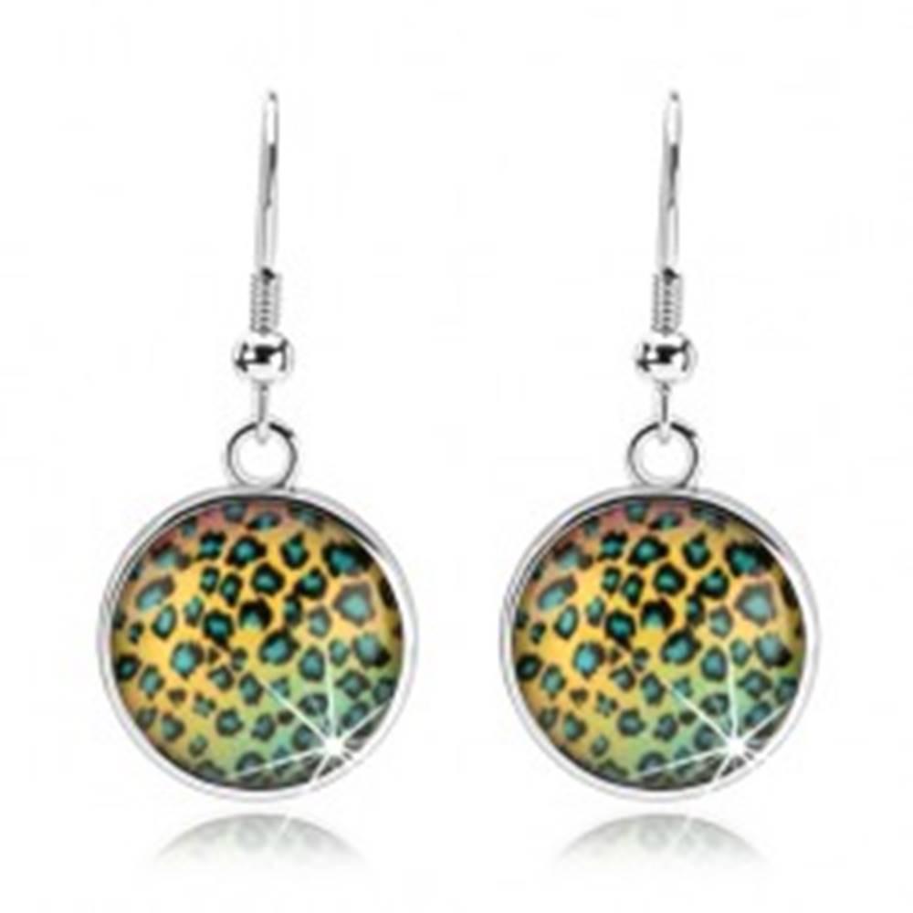Šperky eshop Kabošon náušnice, vypuklé sklo, farebný vzor - leopardie škvrny