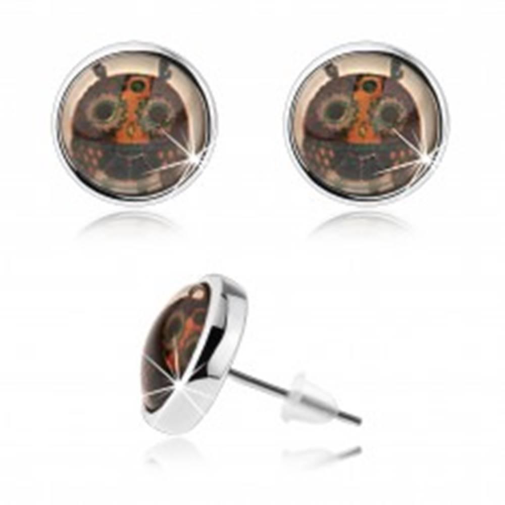 Šperky eshop Kabošon puzetové náušnice, číre sklo, pestrofarebná sovička s veľkými očami