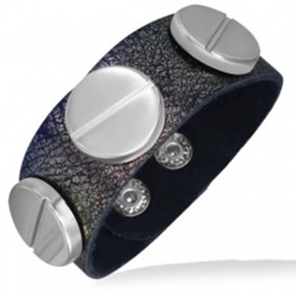 Šperky eshop Kožený náramok s tromi veľkými skrutkami v metalickej ružovej