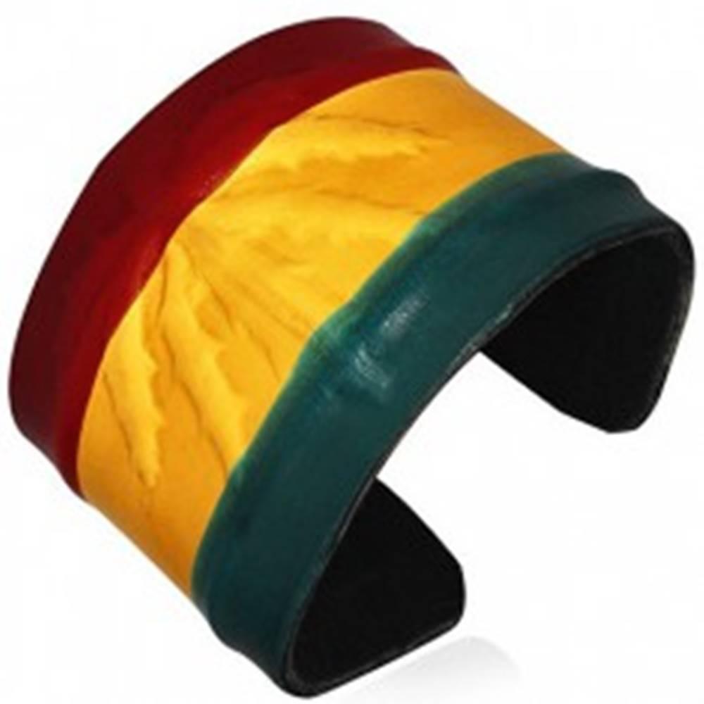 Šperky eshop Kožený RASTA náramok - vystúpená marihuana, farby Jamajky