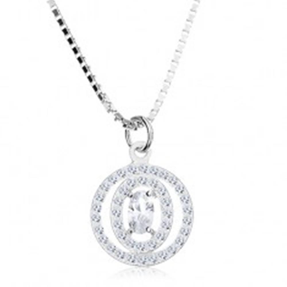 Šperky eshop Náhrdelník zo striebra 925, číry oválny zirkón v dvojitej kontúre