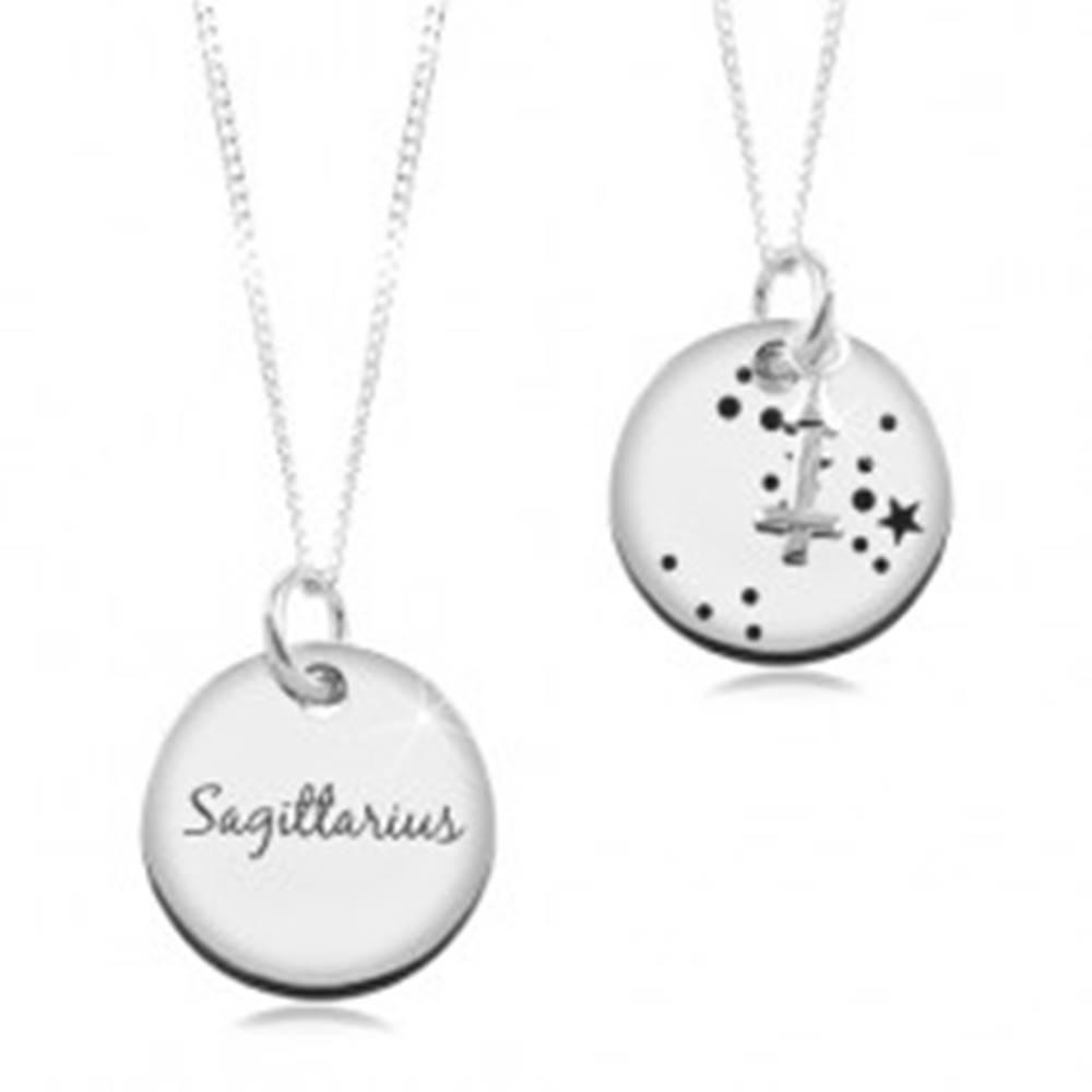 Šperky eshop Náhrdelník zo striebra 925, okrúhla známka a retiazka, znamenie STRELEC