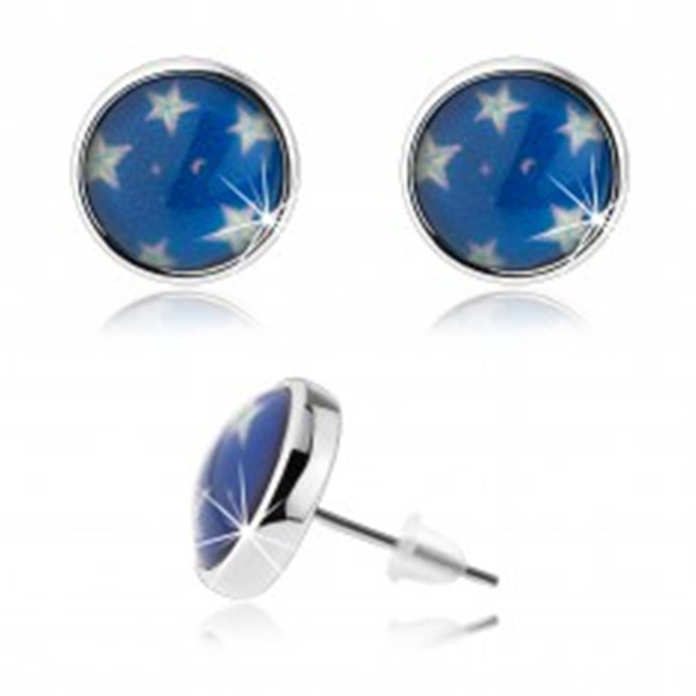 Šperky eshop Náušnice cabochon, číra glazúra, biele hviezdy, modrý podklad, puzetky