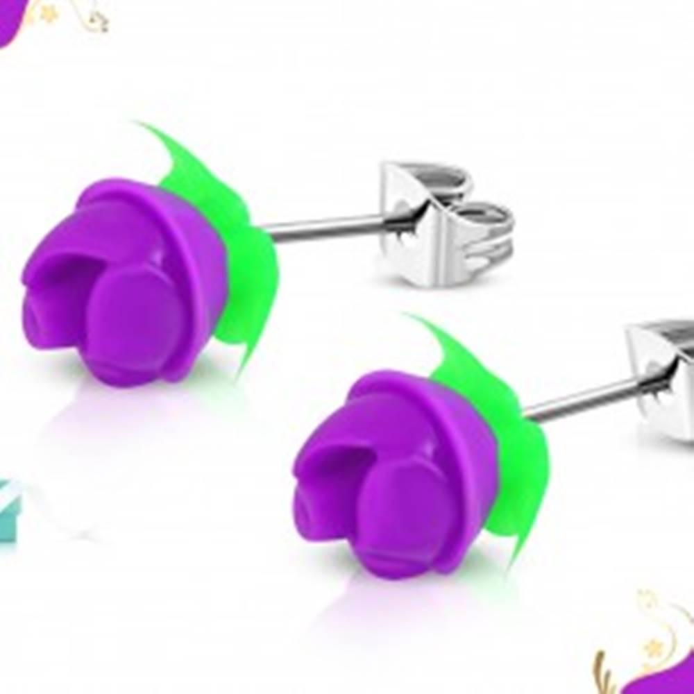Šperky eshop Náušnice z chirurgickej ocele, fialová silikónová ružička, zelené lístky