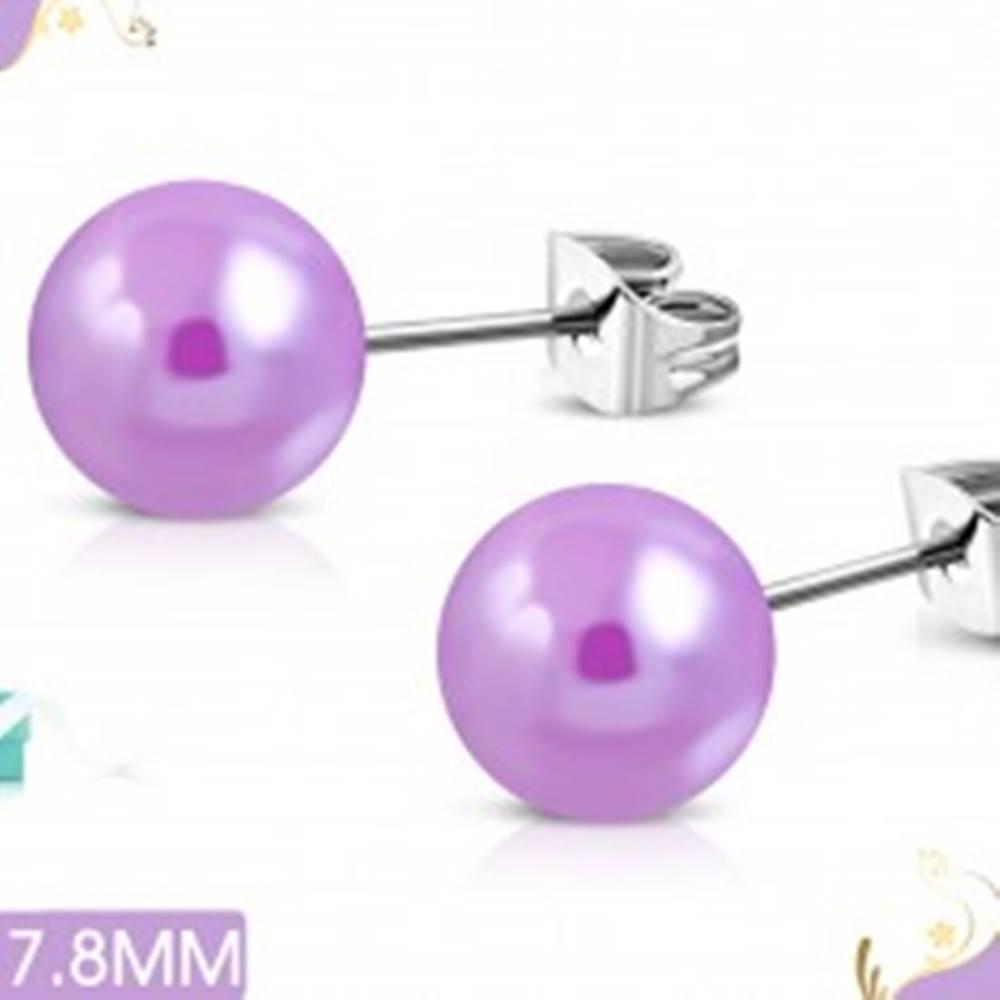 Šperky eshop Náušnice z chirurgickej ocele, svetlofialové perleťové guľôčky