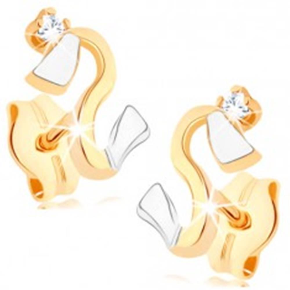 Šperky eshop Náušnice zo zlata 375 - zvlnená dvojfarebná línia, zirkónik čírej farby