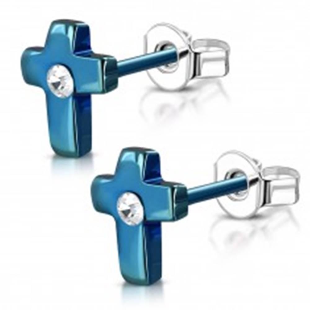 Šperky eshop Oceľové náušnice, anodizovaný modrý krížik s čírym zirkónom