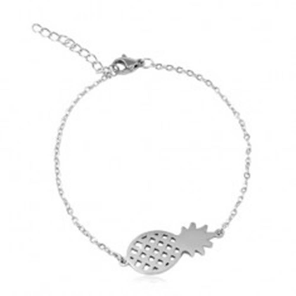 Šperky eshop Oceľový náramok striebornej farby, oválne očká, lesklý ananás
