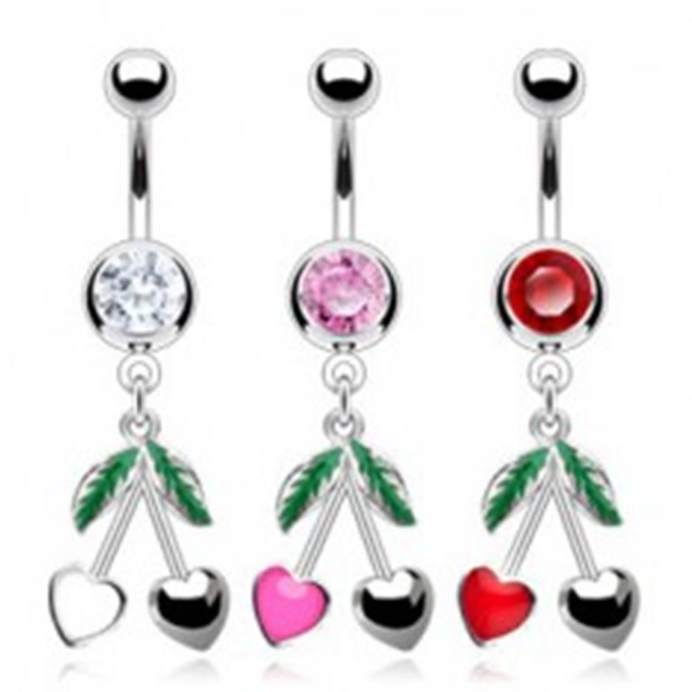 Šperky eshop Oceľový piercing do pupka - farebný zirkón, srdiečkové čerešne - Farba zirkónu: Červená - R