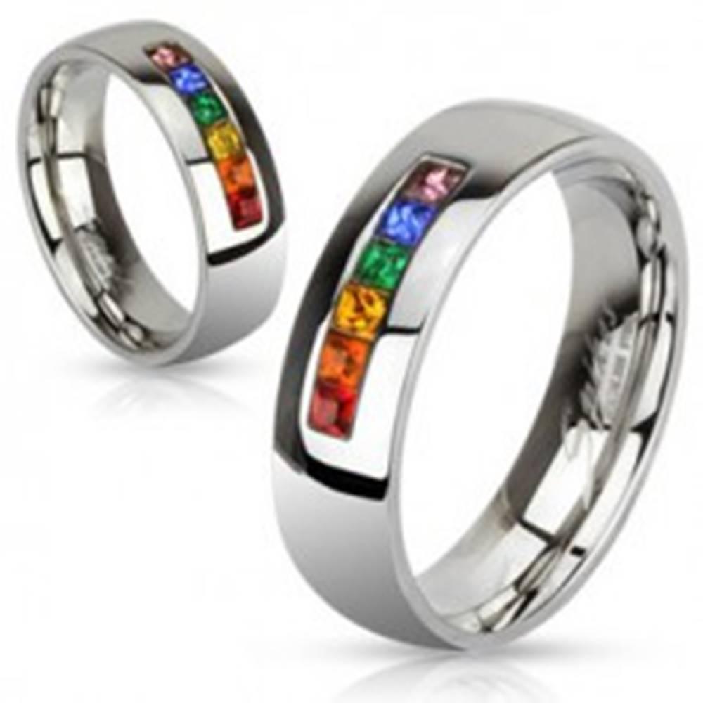 Šperky eshop Oceľový prsteň s rôznofarebnými zirkónmi - Veľkosť: 49 mm