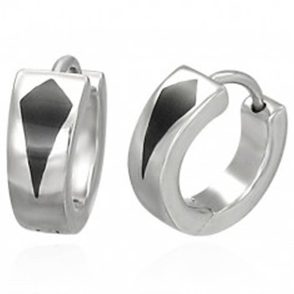 Šperky eshop Okrúhle oceľové náušnice s čiernym klinom