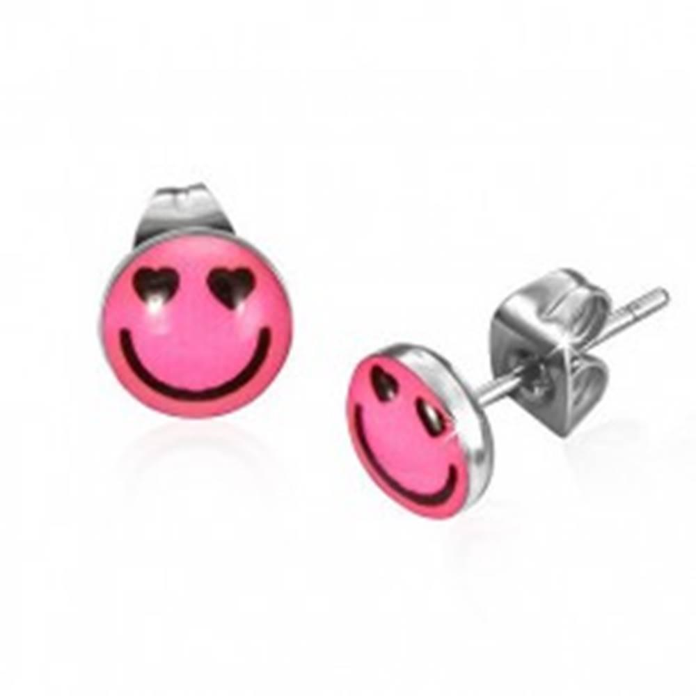 Šperky eshop Okrúhle oceľové náušnice - zamilovaný smajlík
