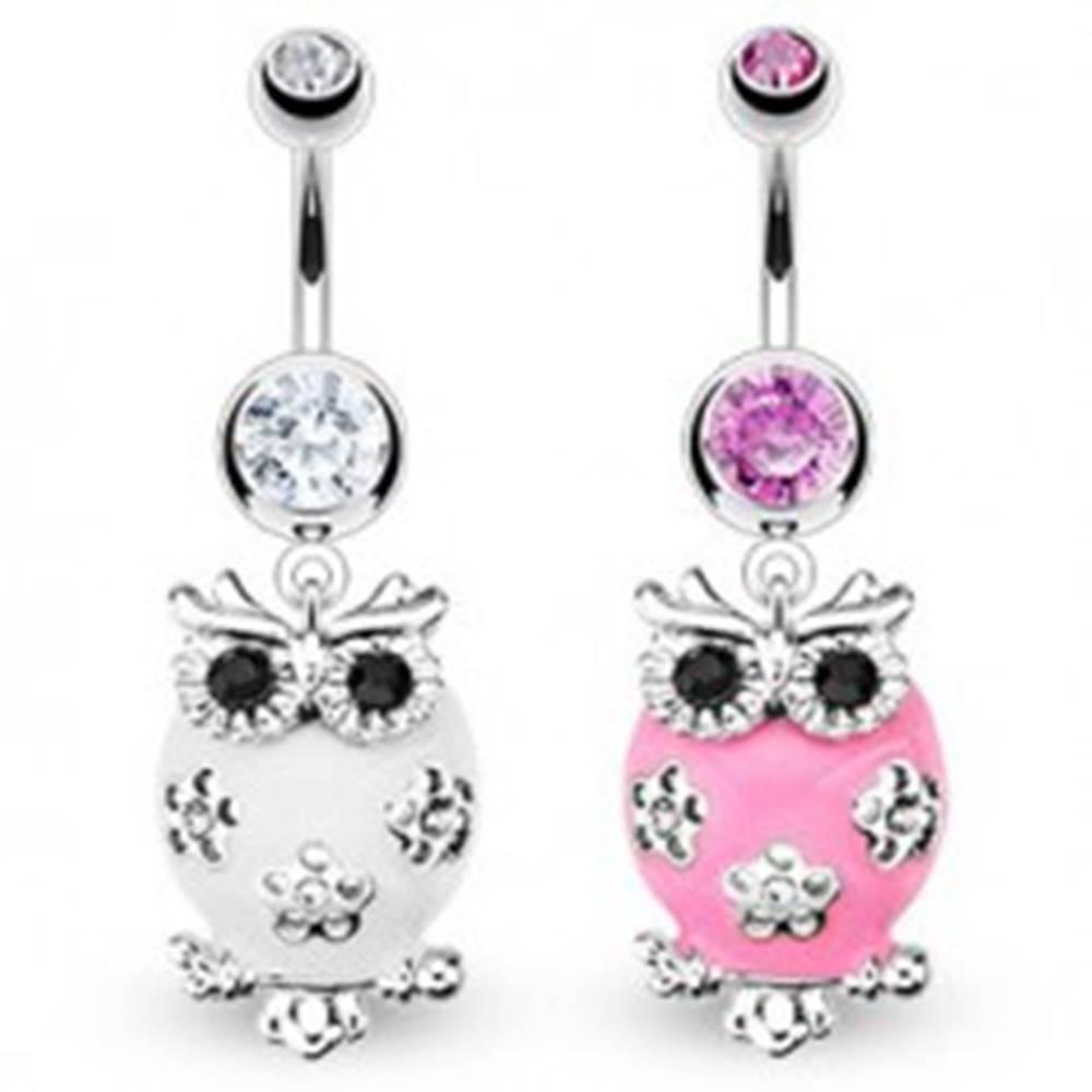 Šperky eshop Piercing do brucha - glazúrovaná sova, tri kvety - Farba zirkónu: Číra - C