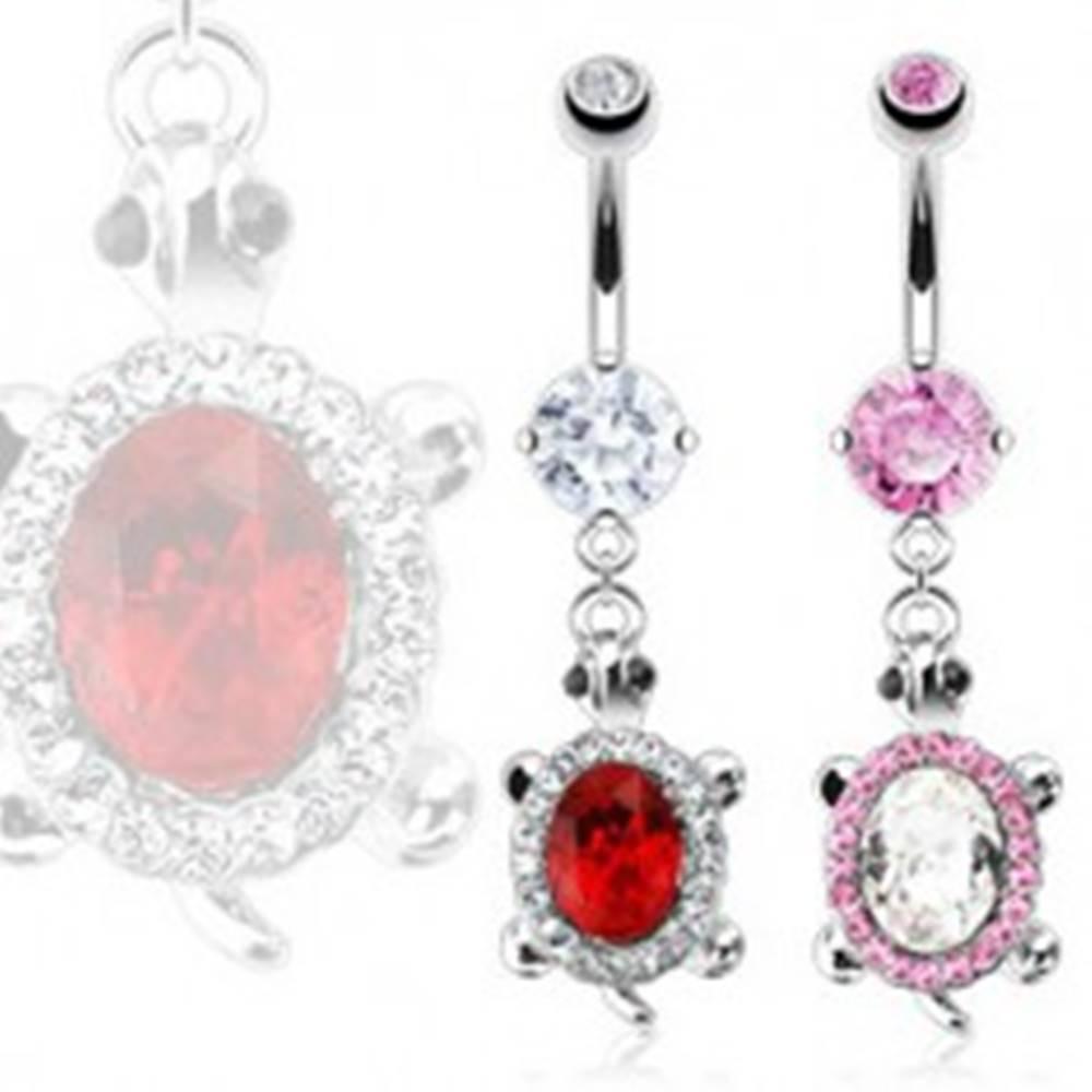 Šperky eshop Piercing do brucha - korytnačka so zirkónovým pancierom - Farba zirkónu: Číra - C