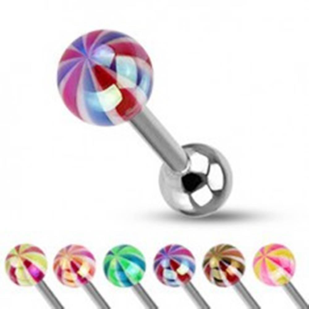 Šperky eshop Piercing do jazyka - farebná gulička s perleťovým leskom - Farba piercing: Čierná - Červená
