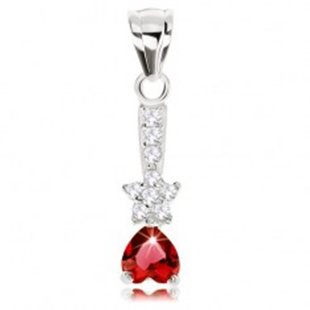 Šperky eshop Prívesok, striebro 925, obrátené zirkónové srdce, ligotavá hviezdička