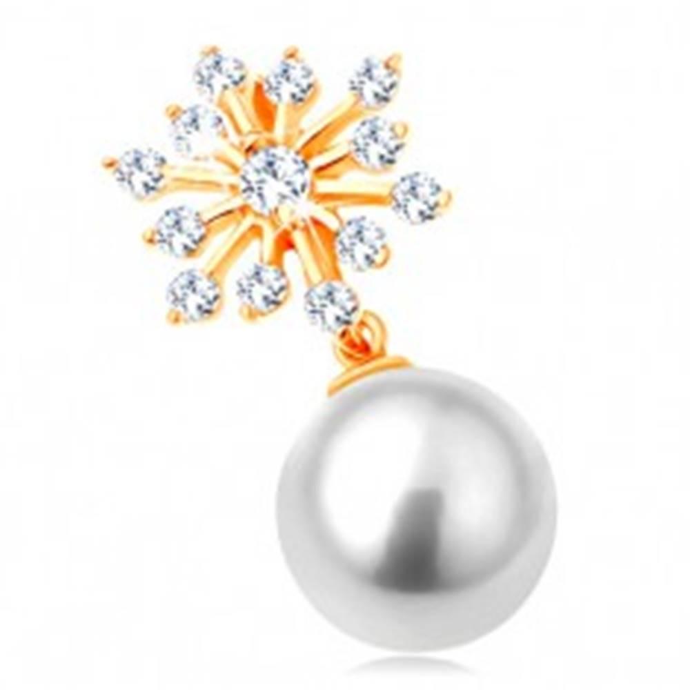 Šperky eshop Prívesok v žltom 14K zlate - trblietavá snehová vločka, guľatá biela perla