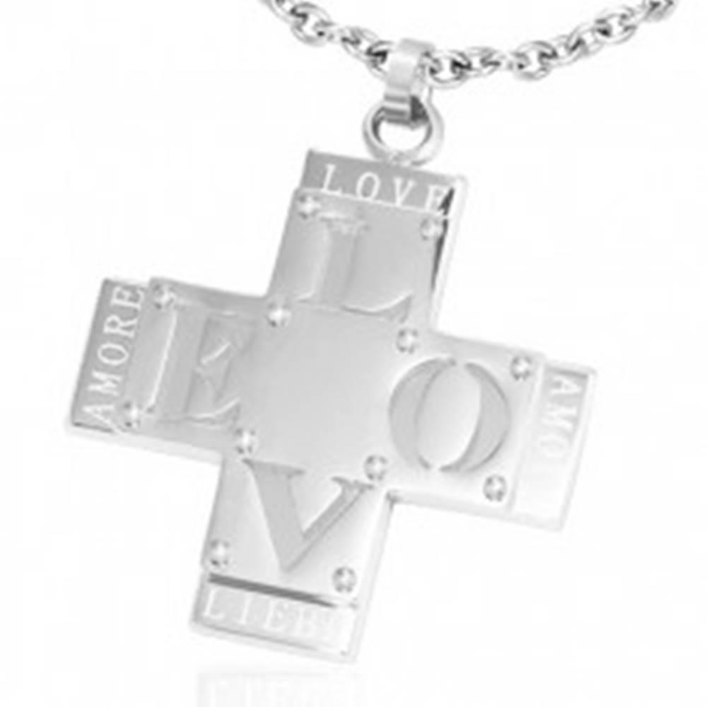 """Šperky eshop Prívesok z ocele - dvojitý kríž s nápisom """"LOVE"""""""