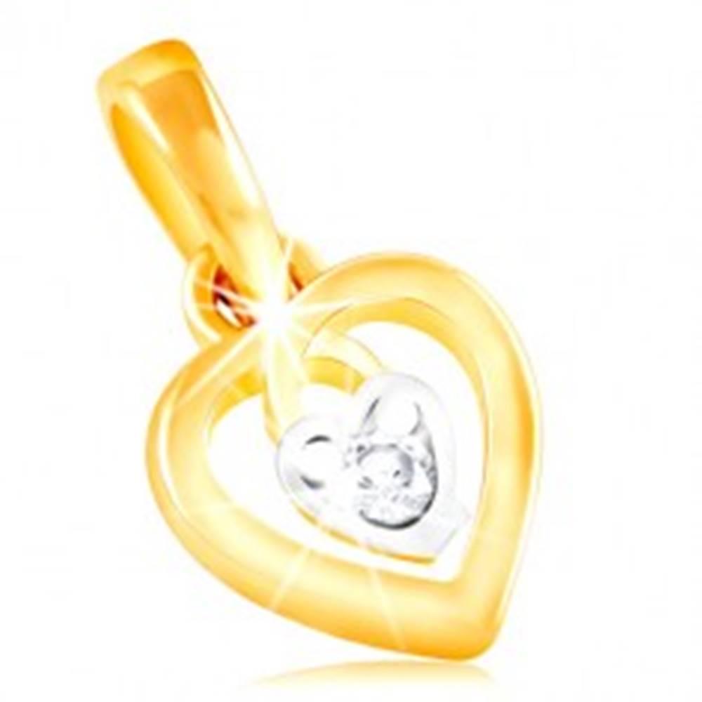 Šperky eshop Prívesok zo 14K zlata - kontúra srdca a malé srdiečko s čírym zirkónom v strede