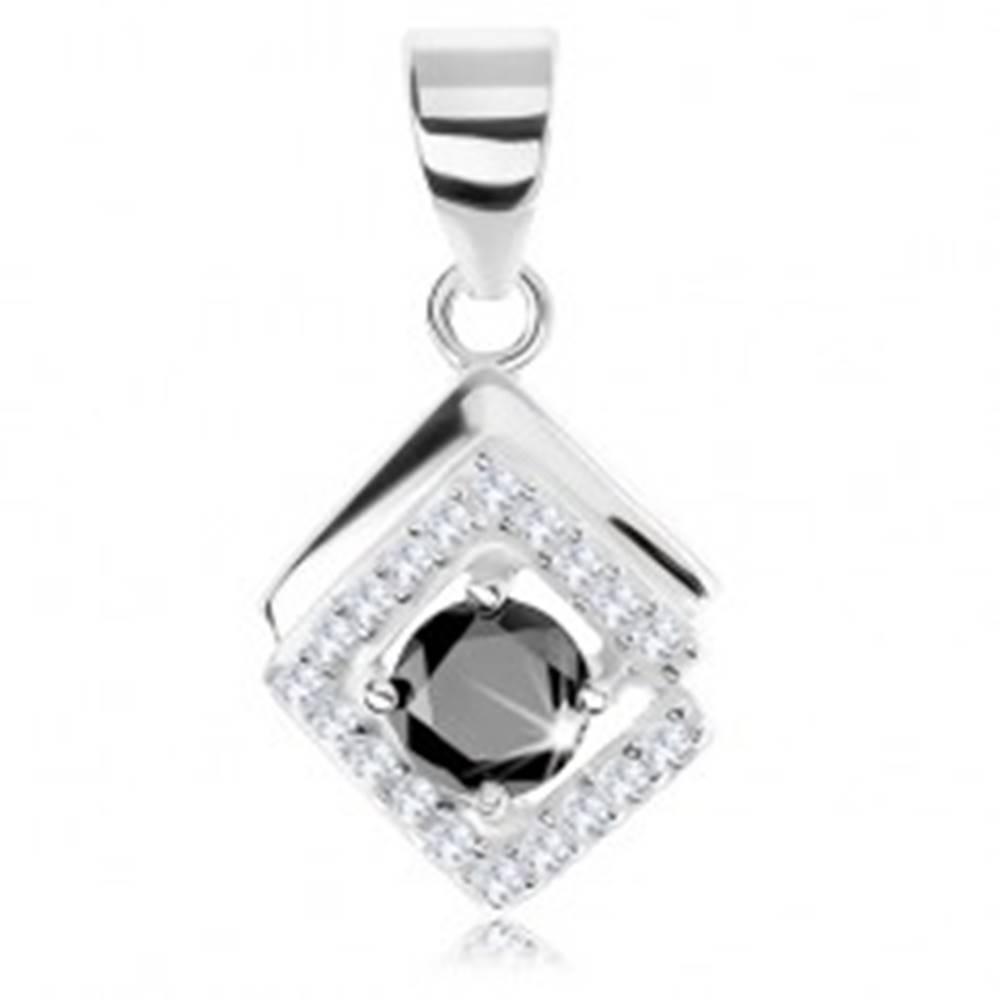 Šperky eshop Prívesok zo striebra 925, obrys kosoštvorca, čierny okrúhly zirkón