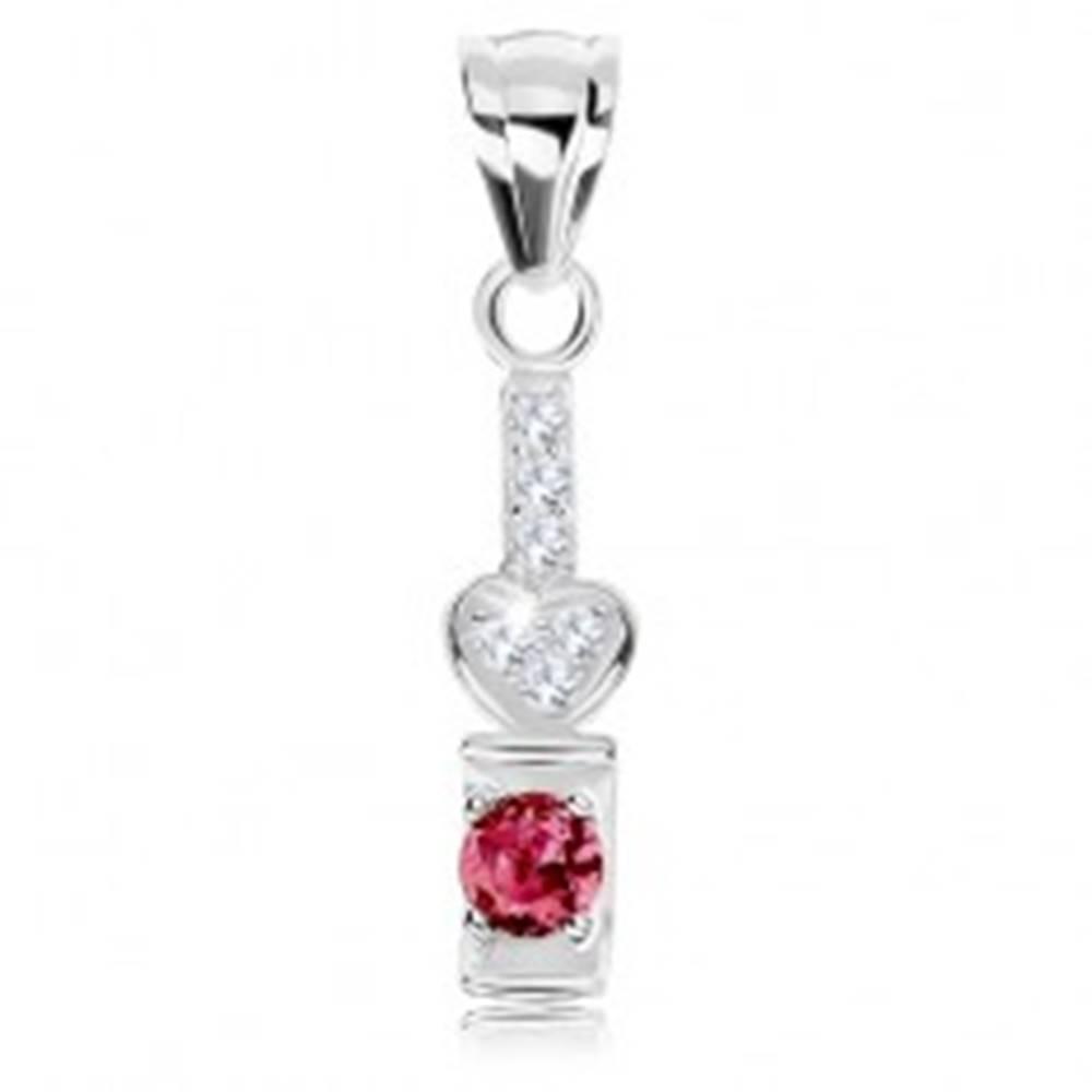 Šperky eshop Prívesok zo striebra 925, trblietavý pásik a srdiečko, ružový zirkón v polkruhu