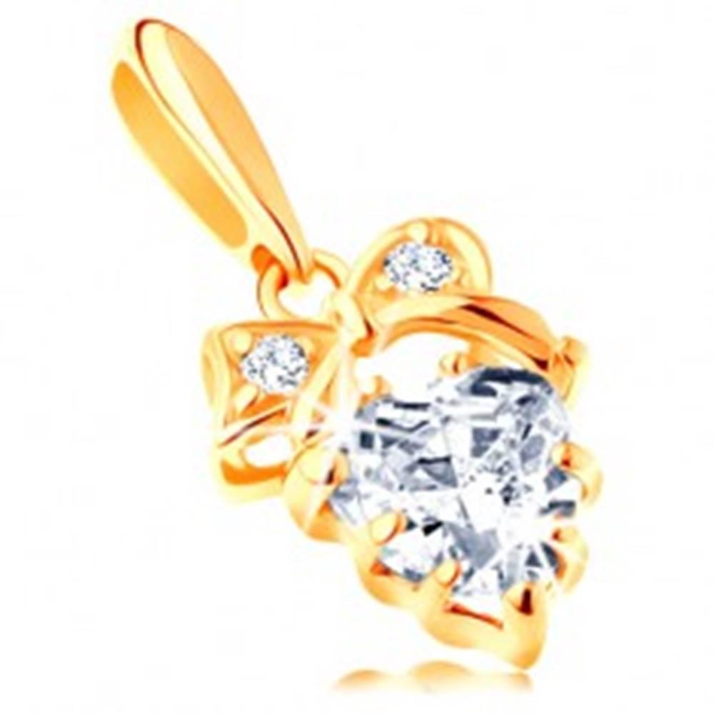 Šperky eshop Prívesok zo žltého 14K zlata - číre zirkónové srdiečko s mašličkou