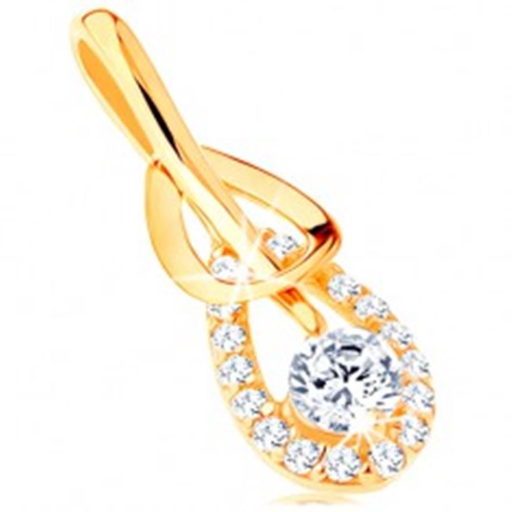 Šperky eshop Prívesok zo žltého 14K zlata - hladká a zirkónová kontúra slzy, číry zirkón