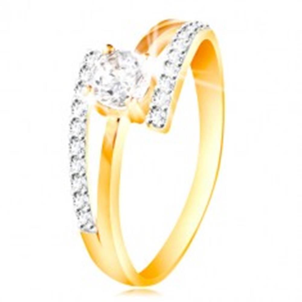 Šperky eshop Prsteň zo 14K zlata - rozdvojené ramená, vystúpený okrúhly zirkón čírej farby - Veľkosť: 49 mm