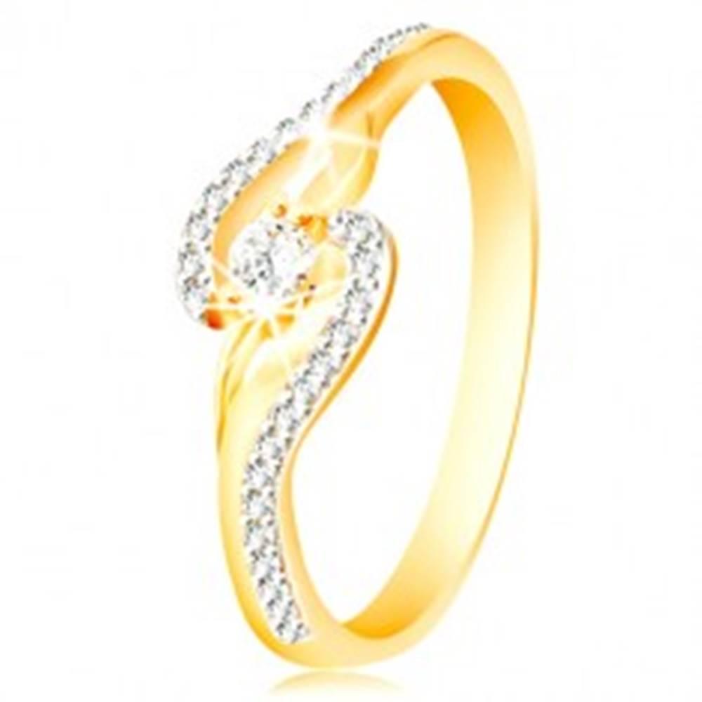 Šperky eshop Prsteň zo 14K zlata - zahnuté konce ramien, úzke zirkónové línie a väčší zirkón - Veľkosť: 49 mm