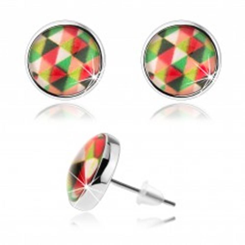 Šperky eshop Puzetové náušnice kabošon, číre vypuklé sklo, farebné trojuholníčky