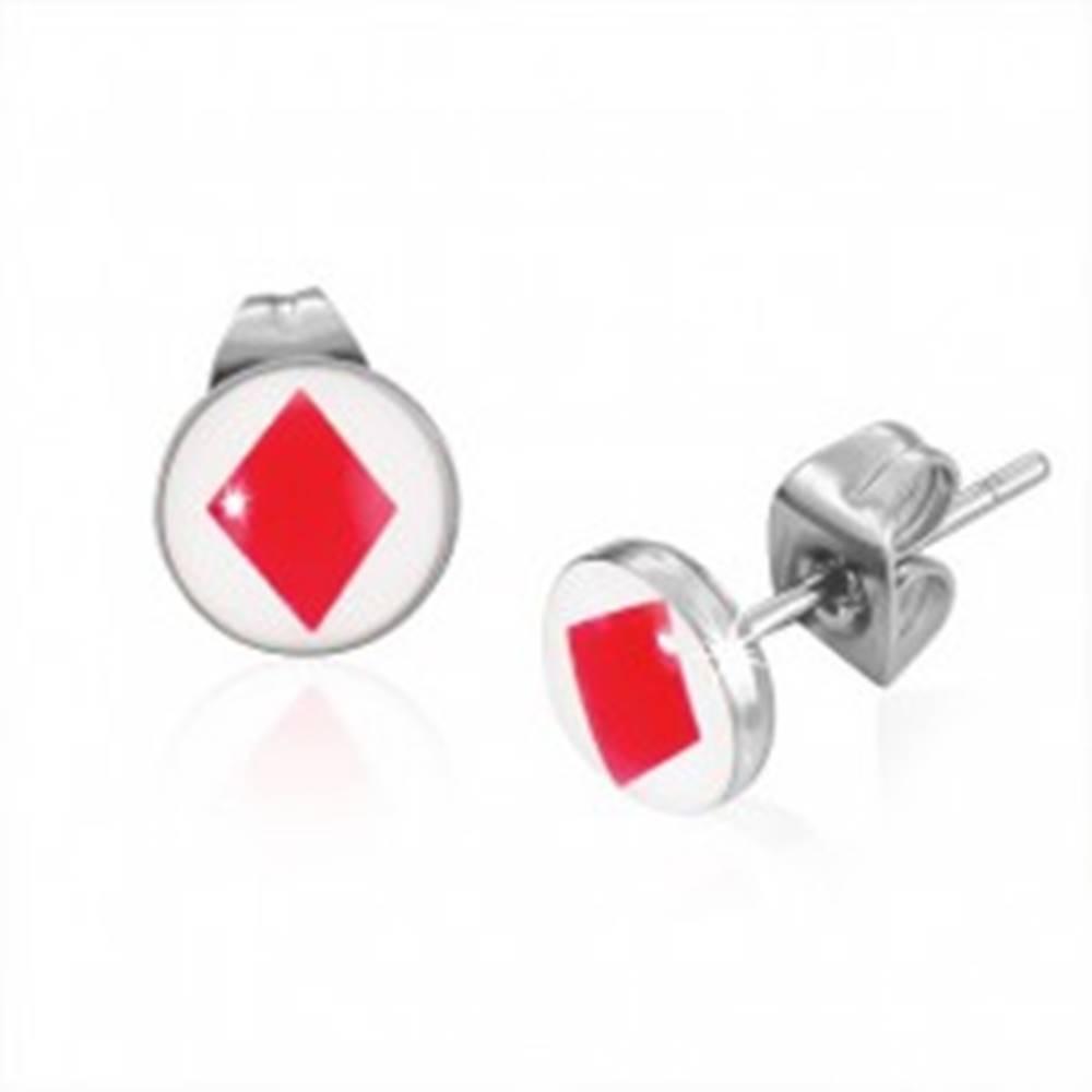 Šperky eshop Puzetové oceľové náušnice s kartovým symbolom