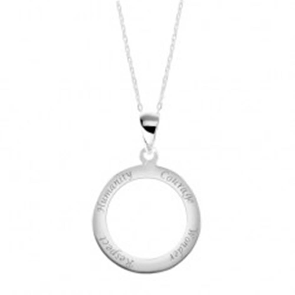 Šperky eshop Strieborný 925 náhrdelník, retiazka a prívesok - obruč s vyrytými nápismi