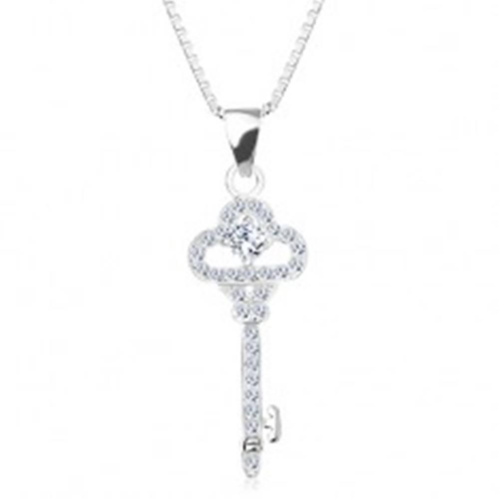 Šperky eshop Strieborný 925 náhrdelník, retiazka s príveskom, ligotavý kľúčik, zirkóny