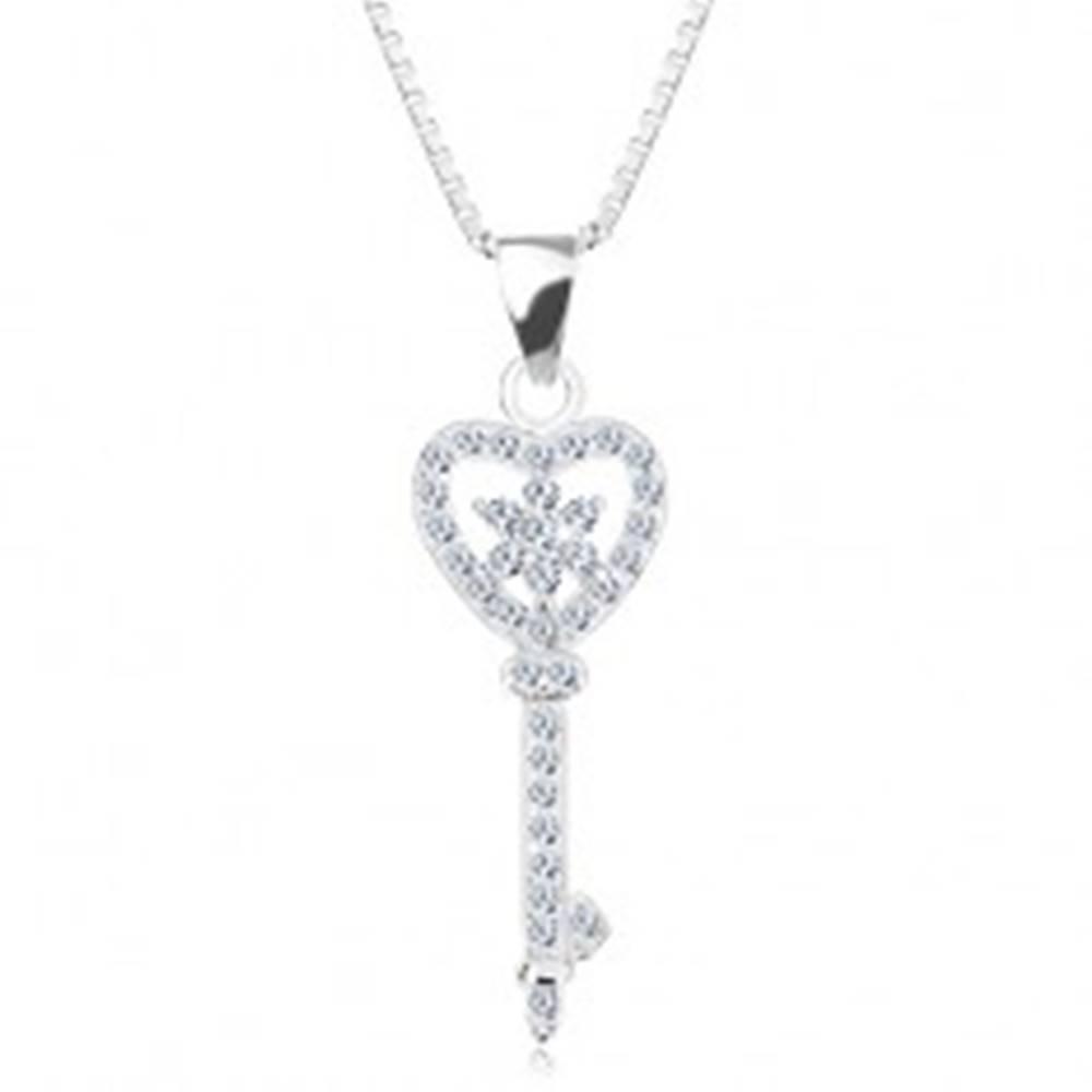 Šperky eshop Strieborný 925 náhrdelník - retiazka s príveskom, zirkónový kľúč - srdce, kvet