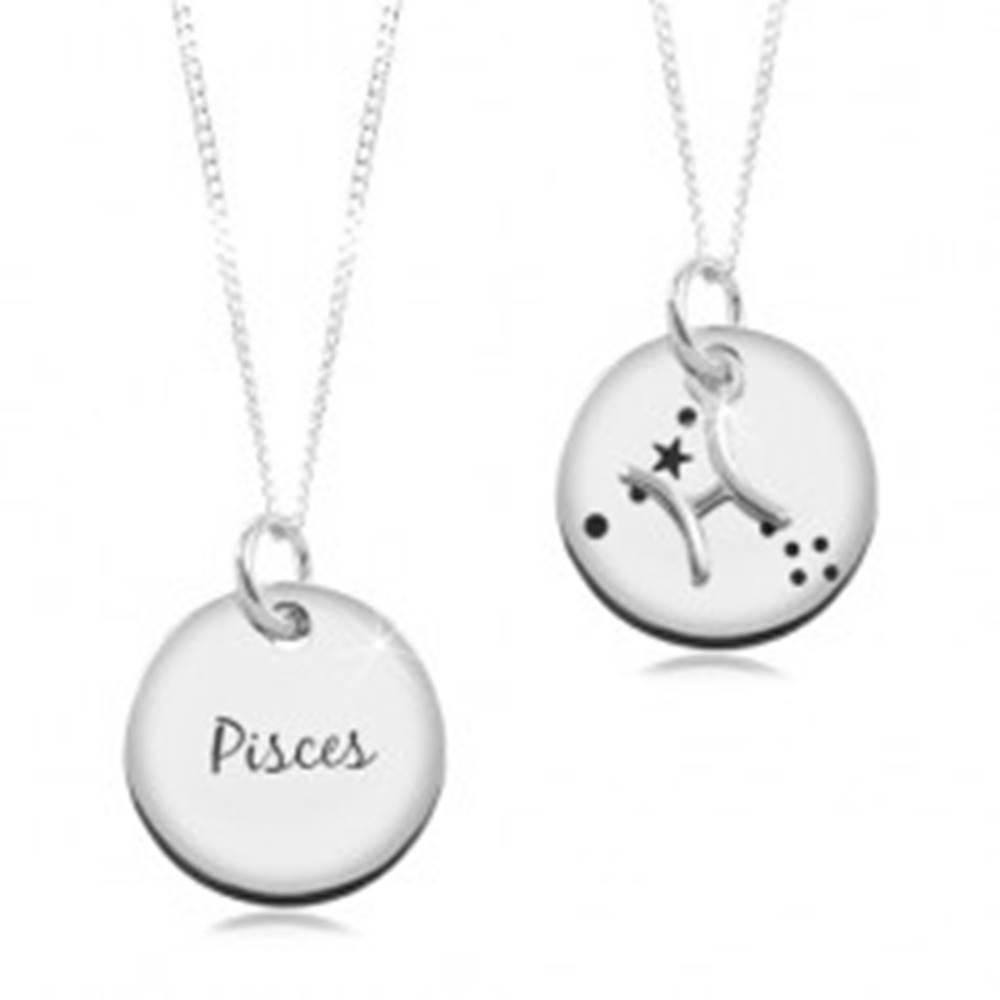 Šperky eshop Strieborný náhrdelník 925, retiazka a okrúhly prívesok - znamenie RYBY