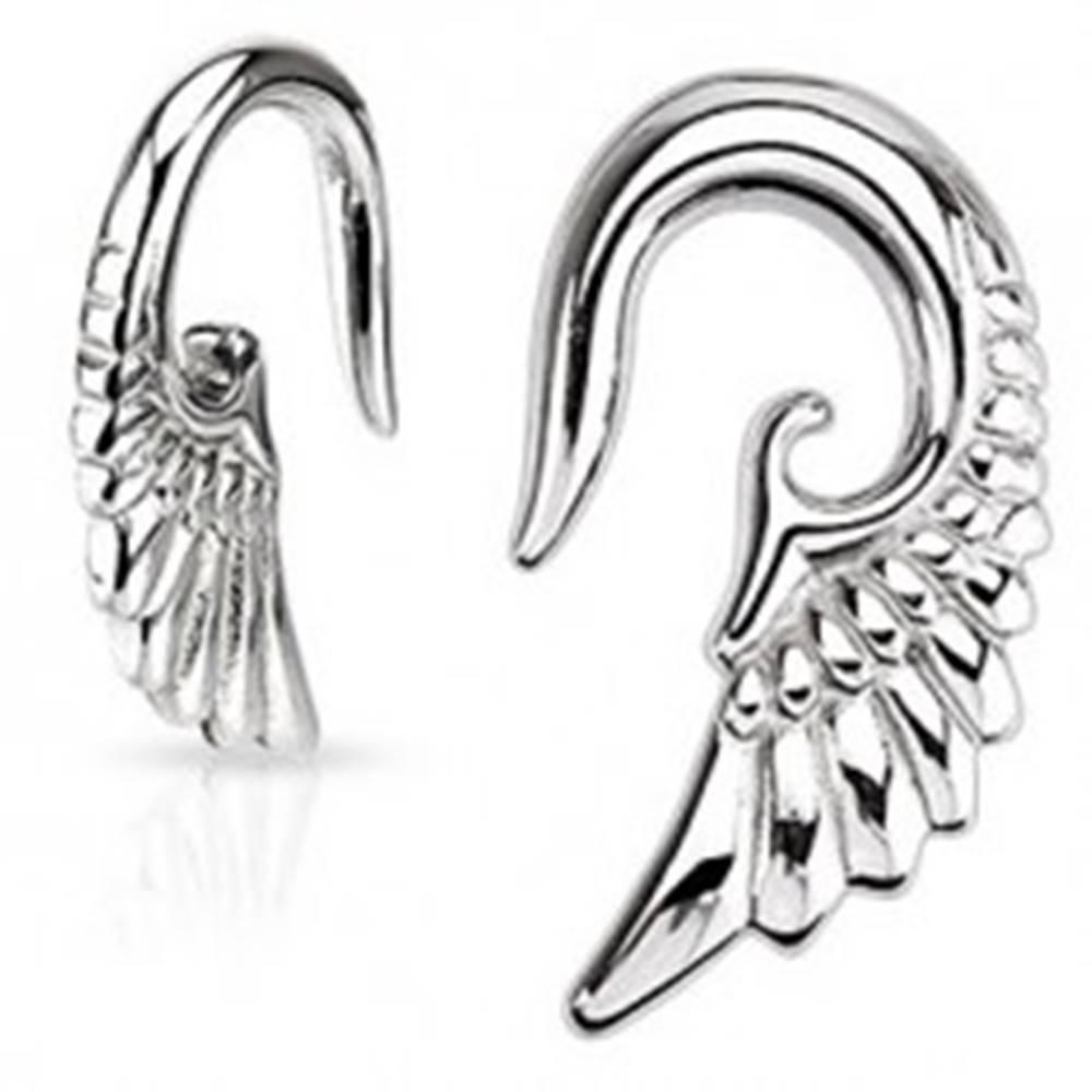 Šperky eshop Taper do ucha - 316L, lesklé anjelské krídlo - Hrúbka: 1,6 mm