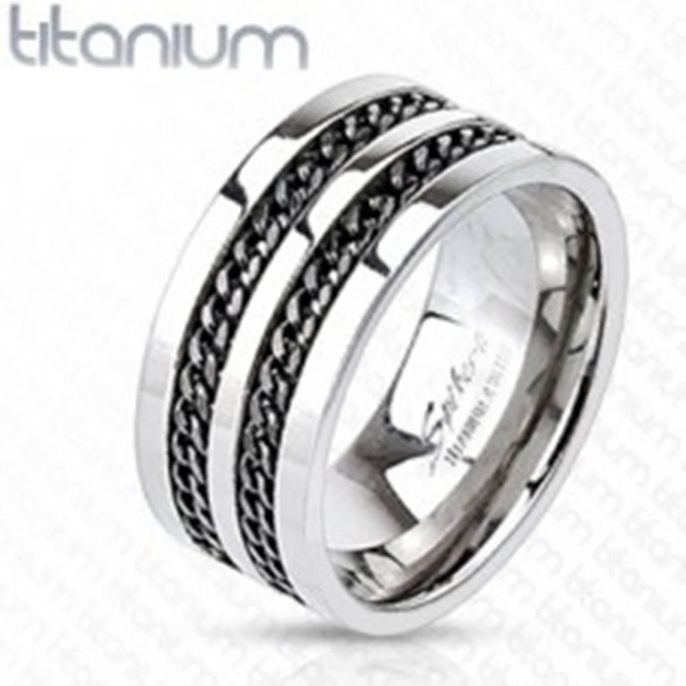 Šperky eshop Titánový prsteň - čierne retiazky - Veľkosť: 58 mm