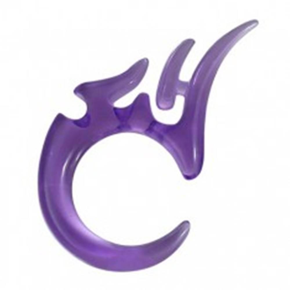 Šperky eshop Tribal expander do ucha z UV akrylu - fialový, 4mm