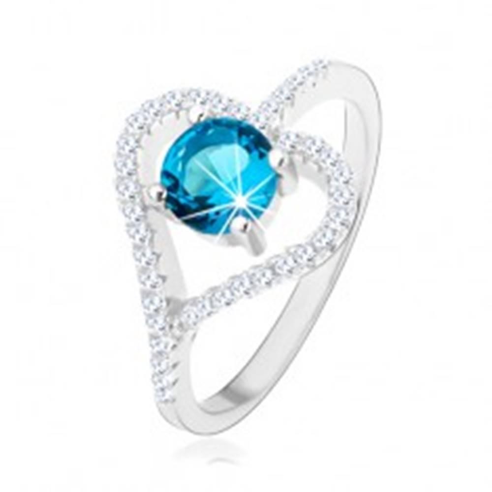 Šperky eshop Zásnubný prsteň zo striebra 925, zirkónový obrys srdca, modrý zirkón - Veľkosť: 50 mm
