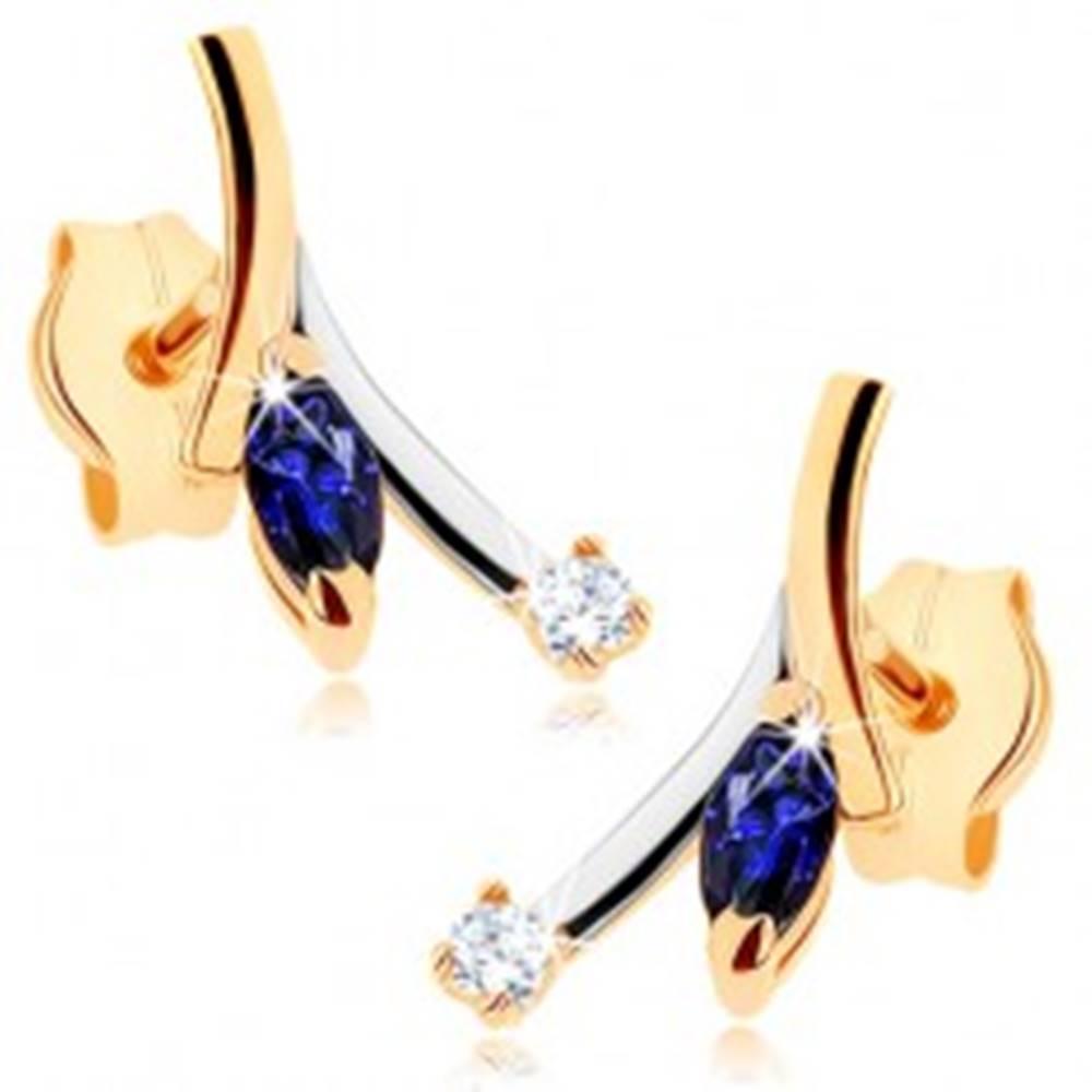 Šperky eshop Zlaté náušnice 375 - modrý zrnkový zafír, číry zirkón, dvojfarebný konárik