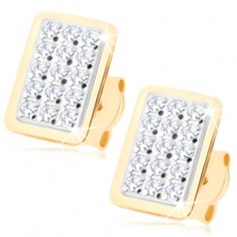 Šperky eshop Zlaté náušnice 375 - obdĺžnik vykladaný čírymi zirkónikmi, lesklý lem