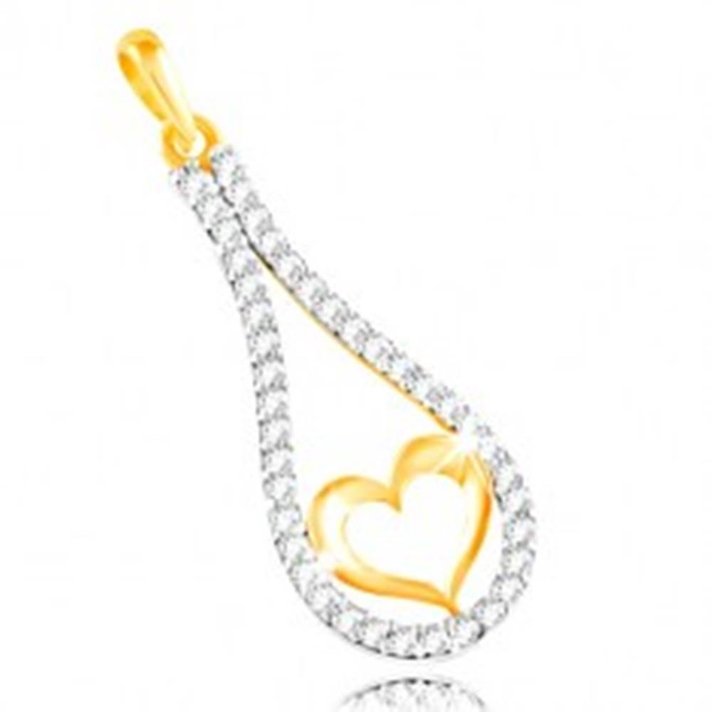 Šperky eshop Zlatý 14K prívesok - obrys srdca v zirkónovej kontúre kvapky